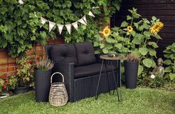 Black modern poly rattan garden furniture chair, metal wire side table. Green grape vines plants growing on red brick wall as deco