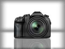 Black modern reflex camera in white background with reflection. Black modern camera in white background with reflection, fine example for electronic market Royalty Free Stock Photo