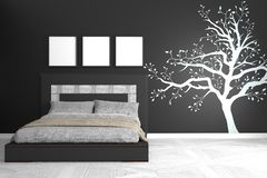 Black modern room - concept black wall graphic - bedroom black wall and white floor. 3D rendering. Mock up Black modern room - concept black wall graphic royalty free illustration