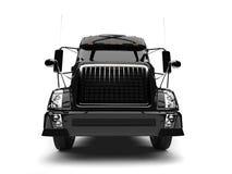 Black modern semi trailer truck - front view closeup shot vector illustration