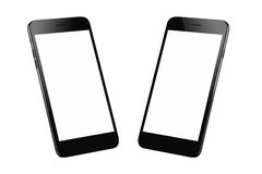 Black modern smart phone isolated. Two isometric positions. Blank screen for mockup stock photos