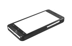 Black modern smartphone with blank screen lies on the surface, i Royalty Free Stock Photos