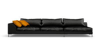Black modern sofa isolated on white background 3D rendering Stock Image