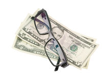 Black modern spectacles and dollars Royalty Free Stock Images