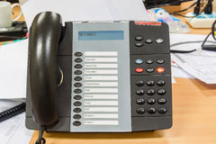 Black modern telephone in office Stock Photo