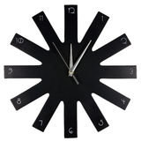 Black modern wall clock. On white background Royalty Free Stock Images