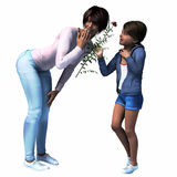 Black Mom getting flower from daughter. Mom getting flower from  daughter for Mother's Day,  birthday or just because Royalty Free Stock Photos