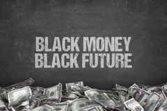 Black money black future text on black background Stock Photos