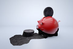 Black money/dirty money/oil money in piggy bank Royalty Free Stock Images