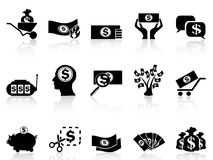 Black money icons set. Isolated black money icons set from white background Stock Photo