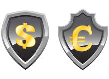 Black money shield Royalty Free Stock Images