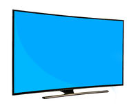 Black monitor with blank blue screen isolated on white backgroun Royalty Free Stock Photo