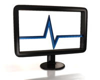 Black monitor with blue pulse. 3d illustration of black monitor with blue pulse Stock Photo