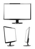 Black monitor collection. On white and blank screen Stock Image
