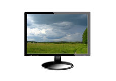 Black monitor with image Royalty Free Stock Photo