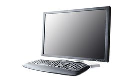 Black monitor and keyboard Royalty Free Stock Images