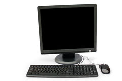 Black monitor, keyboard and mouse Stock Images