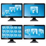 Black monitors with protect screen isolated. On white background Royalty Free Stock Photo