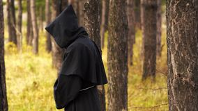 Ghost in the woods. The black monk walks between the trees in the forest stock video footage