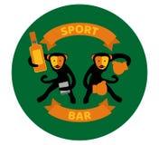 Black monkeys drinking and boxing. royalty free illustration