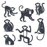 Black Monkeys Silhouettes  on White Stock Photos