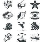 Black monochrome marine icons Stock Image