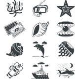 Black monochrome marine icons Stock Image