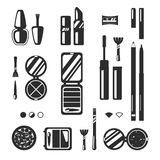 Black monochrome set of decorative cosmetics, vector flat illustration. Beauty store, shop Royalty Free Stock Photo