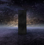 Black Monolith. Strange Monolith on Lifeless Planet vector illustration
