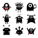 Black monster big set. Cute cartoon scary silhouette character. Baby collection. White background. Isolated. Happy Halloween card. Royalty Free Stock Image