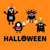 Black monsters holding letters. Happy Halloween. Text with pumpkin. Cute cartoon scary silhouette character. Baby collection. Oran. Ge background. Greeting card Stock Images