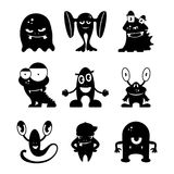 Black monsters silhouettes. Vector set vector illustration