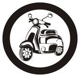 Black moped and road sign Royalty Free Stock Photo