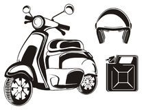 Black moped and two signs Stock Image