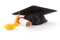 Black Mortarboard. With white background Royalty Free Stock Image