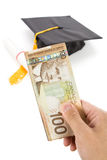 Black Mortarboard and canadian dollar Royalty Free Stock Images