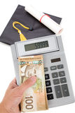 Black Mortarboard and canadian dollar Stock Photography