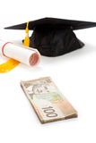 Black Mortarboard and canadian dollar Royalty Free Stock Photo