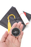 Black Mortarboard and Compass Royalty Free Stock Photo