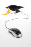 Black Mortarboard and computer mouse Stock Photography