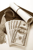 Black Mortarboard and dollar. Concept of education finance Stock Images