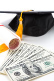 Black Mortarboard and dollar Royalty Free Stock Images