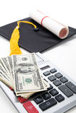 Black Mortarboard and dollar. Concept of education finance Stock Photography