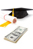 Black Mortarboard and dollar royalty free stock photos