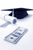 Black Mortarboard and dollar. Concept of education finance Stock Photos
