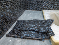 Black mosaic tiles. Black mosaic ceramic tiles for tiling stock images