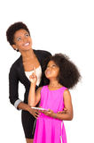 Black mother daughter posing happily Royalty Free Stock Image