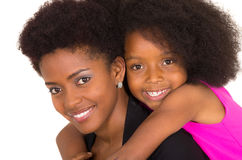 Black mother daughter posing happily Royalty Free Stock Photos