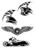 Black motocross mascot design. Tribal motocross mascot or tattoo design with skeleton on motorcycle with billowing flames, wings with wheel and demon in the hood Stock Photography