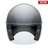 Black motorbike classic helmet with clear glass. Visor. Vector illustration isolated on white background Stock Photo